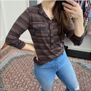 Olivia Moon Brown and Black Striped Henley Top